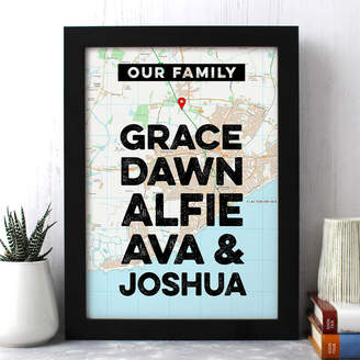 Well Bred Design Personalised Family Map Print