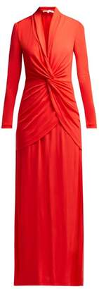 Diane von Furstenberg Stacia V Neck Knotted Crepe Dress - Womens - Red