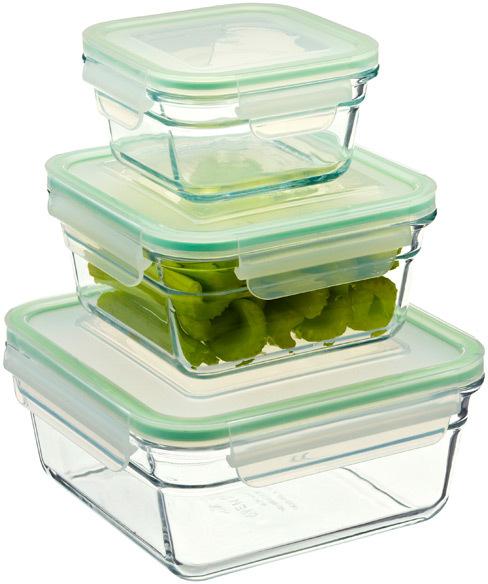Container Store 26.4 oz. Glasslock® Square 3.3 c.