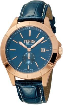 Ferré Milano Men's Dark Blue Dial with Dark Blue Leather Calfskin Band Watch.