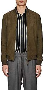 Barneys New York Lot 78 x Men's Suede Bomber Jacket-Green