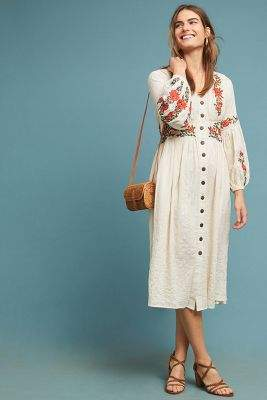 Maeve Grenoble Embroidered-Peasant Dress
