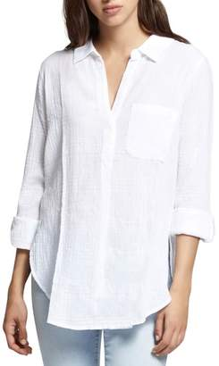 Sanctuary Linen Blend Gauze Tunic Top