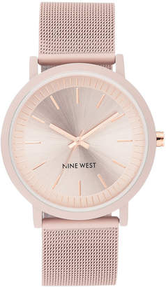 Nine West Women's Pink Rubberized Stainless Steel Mesh Bracelet Watch 40mm