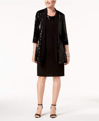 R & M Richards Sequin Necklace-Embellished Dress & Jacket
