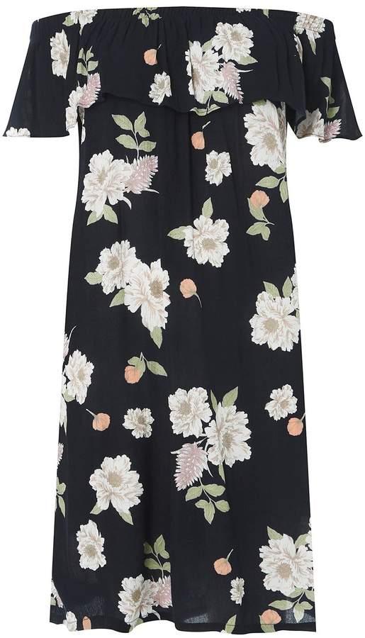 **DP Curve Navy Floral Print Bardot Skater Dress