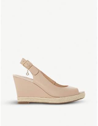 Dune Klick leather espadrille wedge sandals