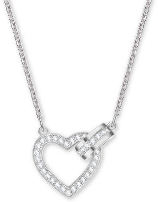 Swarovski Silver-Tone Crystal Heart & Circle Pendant Necklace