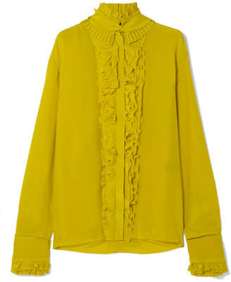 Haider Ackermann Pleated Ruffled Silk Crepe De Chine Blouse - Chartreuse