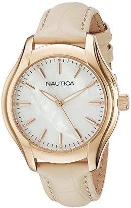 Nautica Women's NAD12000M NCT 18 MID Analog Display Quartz Beige Watch $120 thestylecure.com