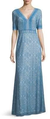 Tadashi Shoji Lace Short-Sleeve V-Neck Gown