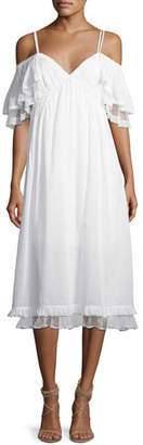 McQ Pleated Flutter-Sleeve Midi Dress