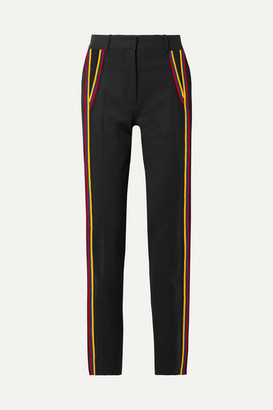 Calvin Klein Striped Wool-blend Gabardine Straight-leg Pants