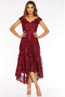 Quiz Wine Lace Embroidered Bardot Dip Hem Dress