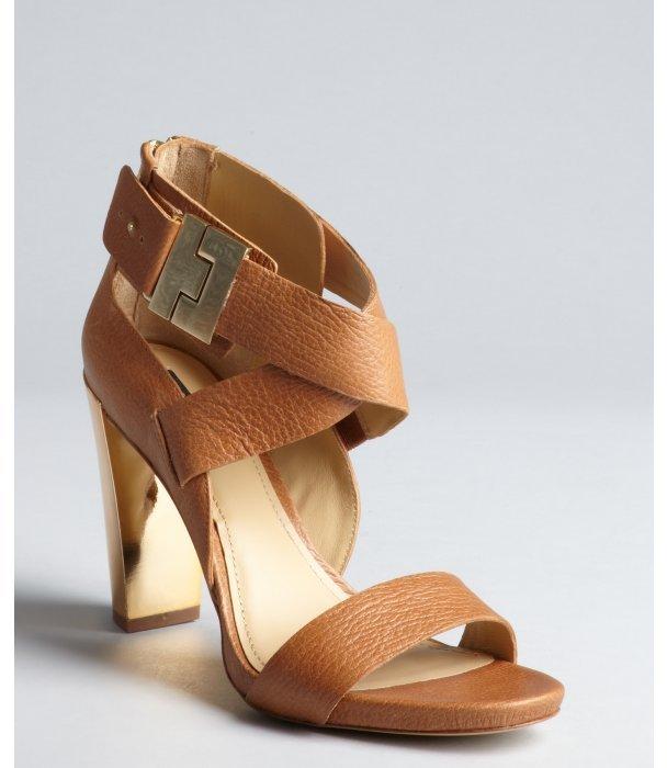 Rachel Zoe camel leather and gold metal 'Brooklyn' stacked heel sandals