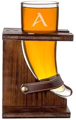 Cathy's Concepts Personalized 'Viking Horn' Beer Glass & Rustic Stand - Multiple Letters Available