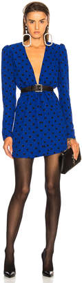 Saint Laurent Polka Dot Plunging Mini Dress in Blue & Black | FWRD