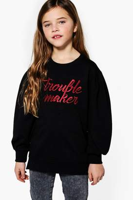 boohoo Girls Trouble Maker Drop Puff Sleeve Sweat