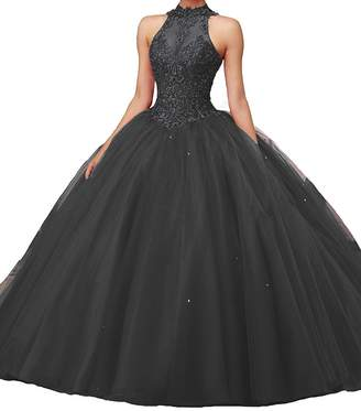 Bonnie_Shop Bonnie Women's Beaded Lace Bodice Ball Gowns Long Puffy Prom Quinceance Dresses BS027