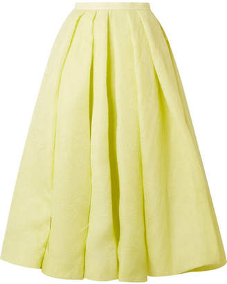 Rosie Assoulin Pleated Silk-jacquard Midi Skirt - Chartreuse