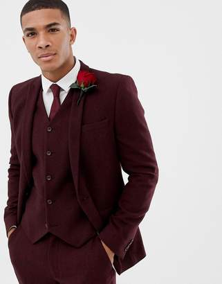 Asos Design DESIGN wedding skinny suit jacket in burgundy wool mix herringbone
