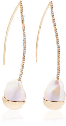 Mizuki Limited Edition Fluid Pearl & Diamond Marquis Earrings