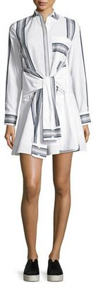 Derek Lam 10 Crosby Long-Sleeve Poplin Tie-Waist Shirtdress, Soft White $495 thestylecure.com