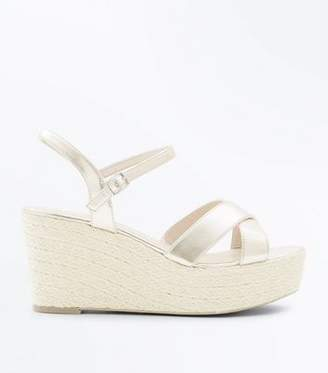 New Look Wide Fit Rose Gold Strappy Platform Espadrilles