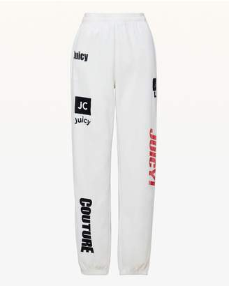 Juicy Couture Mixed Logos Velour Relaxed Pant