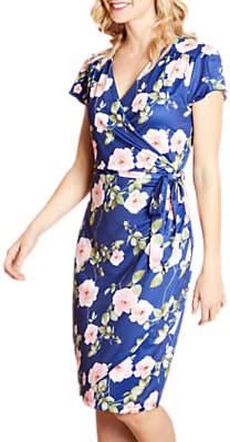 Yumi Floral Wrap Midi Dress, Multi