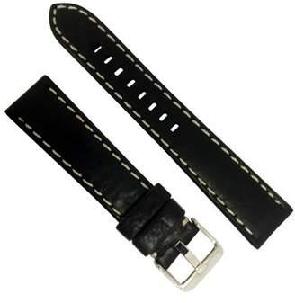 Dakota 22mm Thick Padded Oil Tanned Shrunken Leather Black