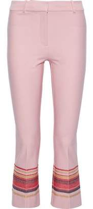 Derek Lam 10 Crosby Embroidered Stretch-cotton Twill Kick-flare Pants