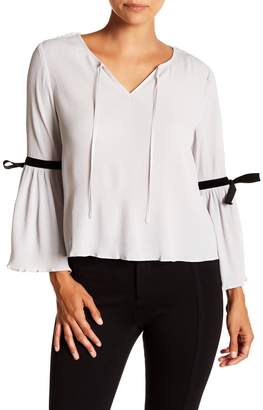 J.o.a. Textured Bell Sleeve Blouse