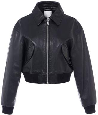 Tibi Leather Gus Cropped Jacket