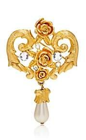 Loren Stazia Women's White Crystal & Imitation-Pearl Brooch-Gold