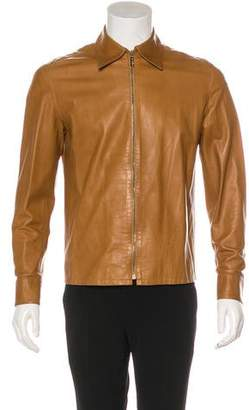 Gucci Zip-Front Leather Jacket