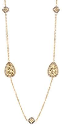 Freida Rothman 14K Gold & Rhodium Plated Lattice Motif Teardrop Trellis CZ Station Necklace