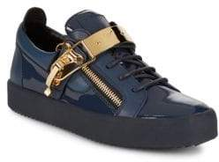 Giuseppe Zanotti Patent Leather Buckle Low-Top Sneakers