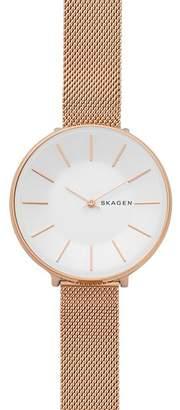 Skagen Karolina Rose Gold-Tone Mesh Bracelet Watch, 38mm