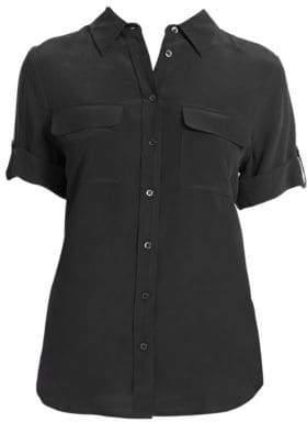 Equipment Short-Sleeve Slim Blouse