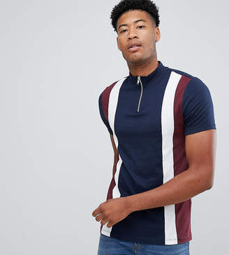 Asos DESIGN Tall t-shirt with turtleneck and vertical cut and sew panels in navy