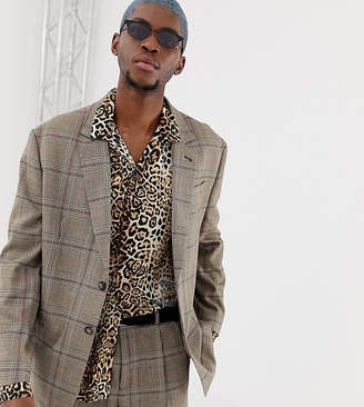 Collusion COLLUSION oversized suit jacket in brown windowpane check