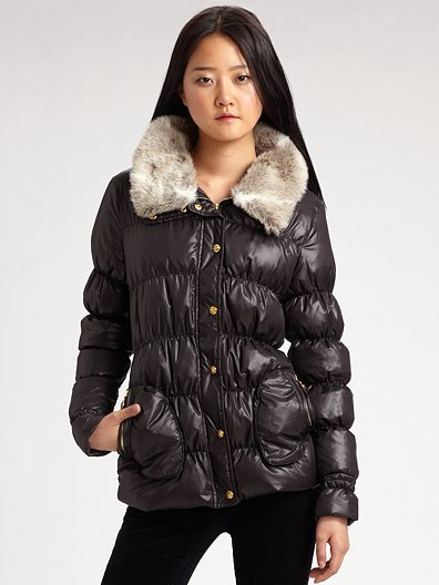 Twisted Heart Faux Fur-Trimmed Puffy Jacket