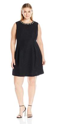 Jessica Howard JessicaHoward Women's Plus Size Sleeveless a-Line Pleat Dress