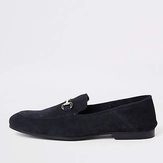 River Island Navy suede fold down heel snaffle loafers