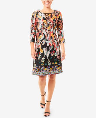 NY Collection Printed Lattice Keyhole Dress