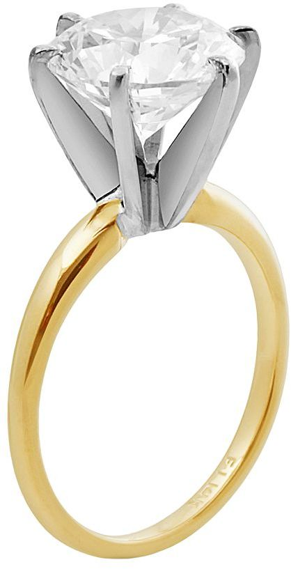 Swarovski Renaissance collection solitaire engagement ring in 14k gold two tone - made with zirconia