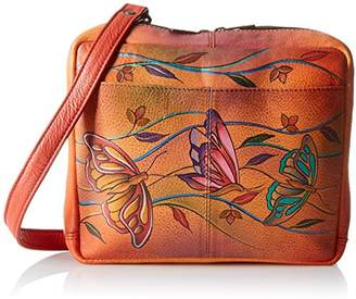 Anuschka Hand-Painted Leather AWT Cross-Body Travel Organizer Bag