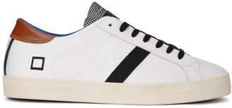 D.A.T.E Sneaker Hill Low Pop In Pelle Bianca Con Linguetta A Quadretti