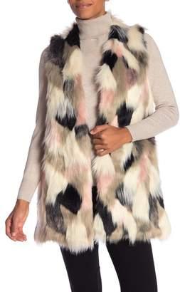 Joseph A Faux Fur Print Vest